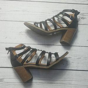 MOSSIMO Sandals black wooden heels